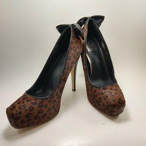"Dolce Vita Platform 5"" Heels Leopard Print Fur DV"